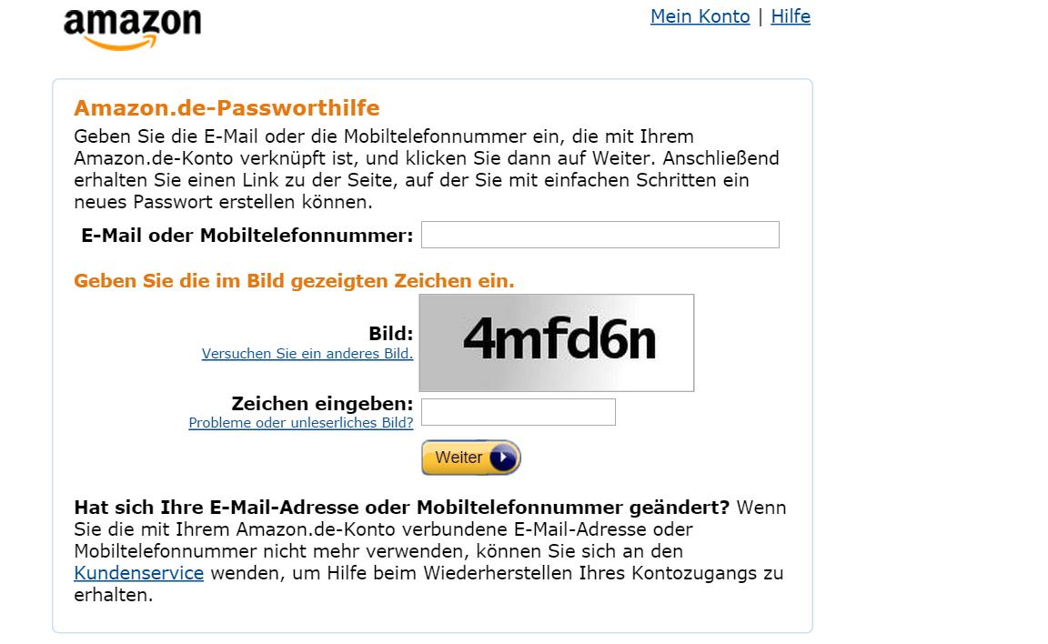 Amazon de Passwort vergessen