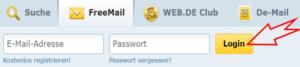 Web.de Freemail Login Button